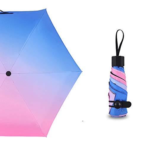 Leezo Kleiner Regenschirm für Reisen Mini-Kompaktschirme Leicht für Sonnen-UV-Schutz Lila, ultraleichter Regenschirm Sonnenschirm mit Farbverlauf Sonnenschutzschirm