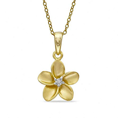 Ani's Round Cut D/VVS1 Diamond Accent Solitaire Flower Pendant In Sterling Silver And 14K Yellow Gold Plated