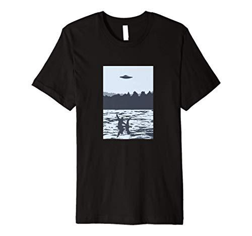UFO Bigfoot Riding on Nessie Loch Ness Monster Sasquatch Premium T-Shirt