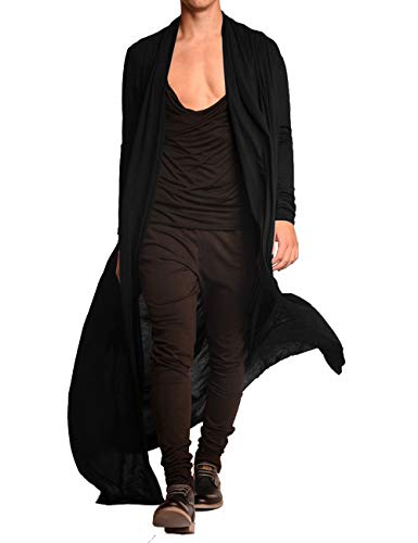 COOFANDY Men's Lightweight Ruffle Shawl Collar Cardigan Open Front Long Length Drape Cape Overcoat Black