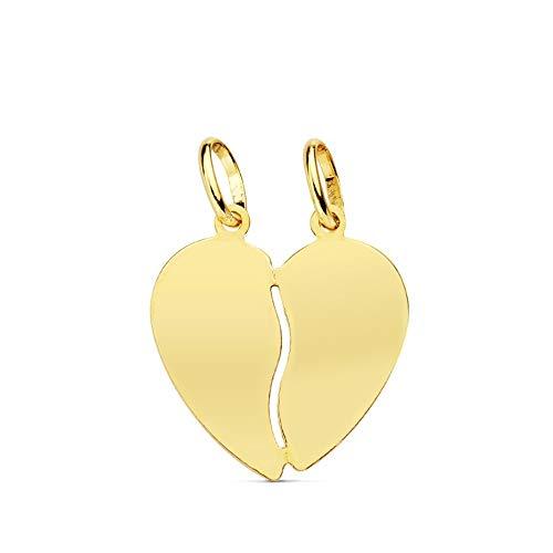 Colgante oro 18k corazón partido 15mm. liso brillo