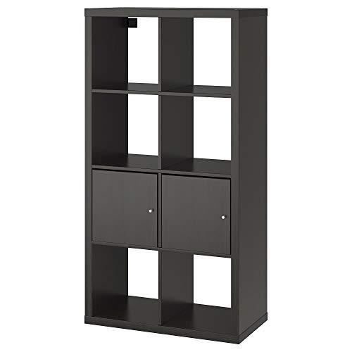 Rekkasten met deuren zwart-bruin, gemonteerde grootte Breedte: 77 cm Diepte: 39 cm Hoogte: 147 cm Max. Laad/plank: 13 kg