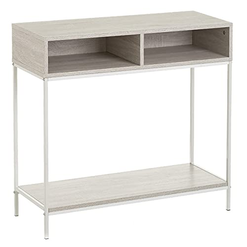Mueble de Consola Auxiliar Nórdica Mesa de Entrada Mueble Recibidor Roble Blanco de Metal y Madera de 75x30x80 cm