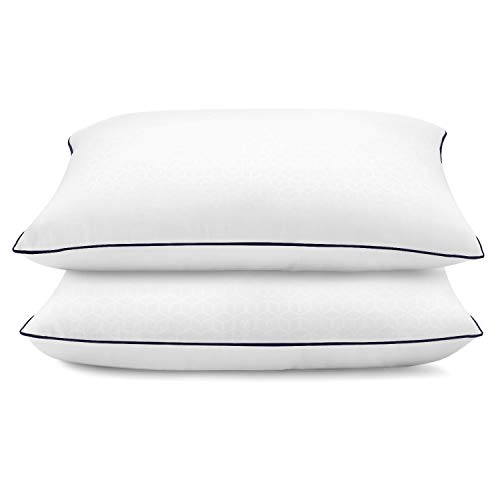 lunaoo Bed Pillows for Sleeping 2 Pack with 100% Soft and Breathable Cotton Cover Neck Pillows for Side, Back, Stomach Sleepers, Pillows Queen Size Set of 2
