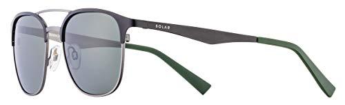 Solar Creedence - Gafas de sol polarizadas para hombre, color negro y gris plateado