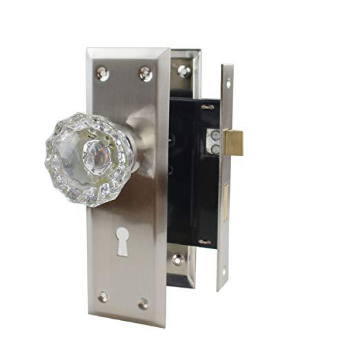 NUZAMAS Old Time Juego de pomos de cristal con diseño de esqueleto, placa de aleación de zinc, pomos de puerta con llaves, para interiores y exteriores, doble apertura, cerraduras para habitación