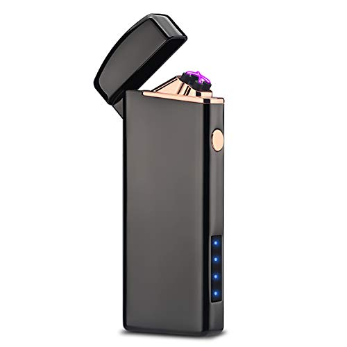 プラズマ ライターusb ライター 小型 充電式 防風 軽量 薄型 プレゼントブラック