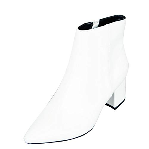 BAMBOO Womens Pointed Toe Block Low Heel Ankle Boot Booties, Size 6.5, White