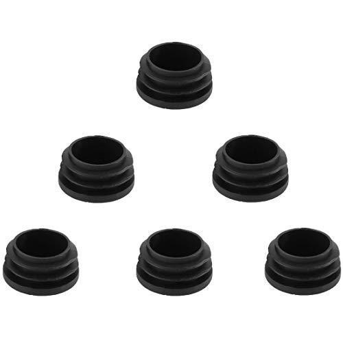uxcell 6pcs Bouchon Pied de Chasie Table Meuble Embout Bouchou Tuyau Insert Tube Capuchon en plastique noir rond 32 mm