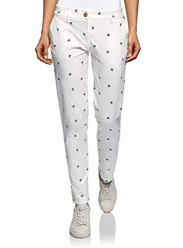 oodji Ultra Mujer Pantalones Chinos de Algodón, Blanco, ES 40 / M