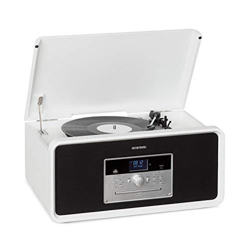 auna Bella Ann - Stereoanlage, Radio DAB+/UKW, Plattenspieler mit 33/45/78 RPM, Bluetooth, CD-Player für CD-R/RW & MP3CD, USB-Port, AUX-IN, Fernbedienung, Aufnahme-Funktion, weiß