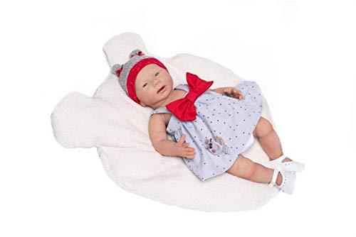 MUÑECAS GUCA 18052 Poupée bébé en Silicone avec Robe en Forme de cœur et nœud Rouge 46 cm