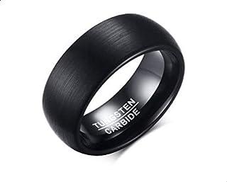 خاتم للرجال مصنوع من التنجستن مع الختم من الداخل لونه اسود و مقاسه 9