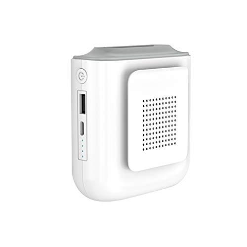 TreeLeaff Ventilador personal con banco de energía de 4000 mAh, mini ventilador USB de escritorio, ventilador de cintura personal, cargador portátil y luz LED para viajes de campamento en la oficina
