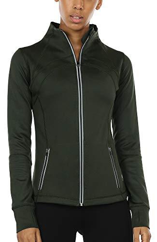 icyzone Sport Jacke Damen Langarm Shirt - Trainingsjacke voll Reißverschluss Laufshirt mit Daumenloch und Seitentasche (Army, M)
