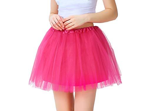 Tutu Damen Tüll Rock Tüllrock 50er 80er Kurz Ballet 3 Layers Tanzkleid Unterröcke Trachtenröcke Zubehör für Frauen Mädchen, 7 Farben (Rosa)