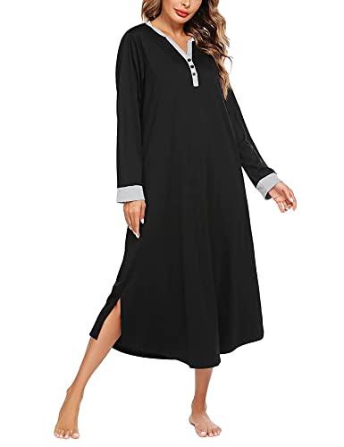 Skione Camisón largo para mujer, camisón de lactancia, de manga larga, cuello en V, a rayas, corte holgado, vestido de noche largo, Negro-B., XL