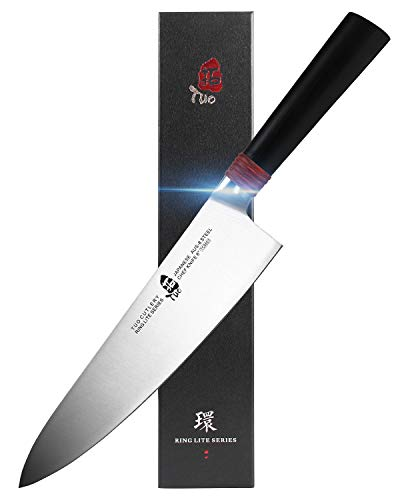 TUO Chef Knife 8 inch - Kitchen Cooking Knives Professional Japanese Gyuto Knives for Vegetables Fruits and Meat - AUS-8 Stainless Steel with Pakkawood Handle - Ring Lite Series with Gift Box