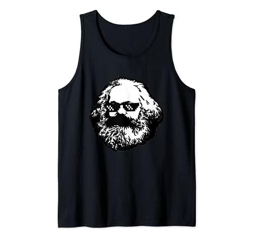 Thuglife Marx Thug Gafas Divertidas Navidad Socialista Camarada Camiseta sin Mangas