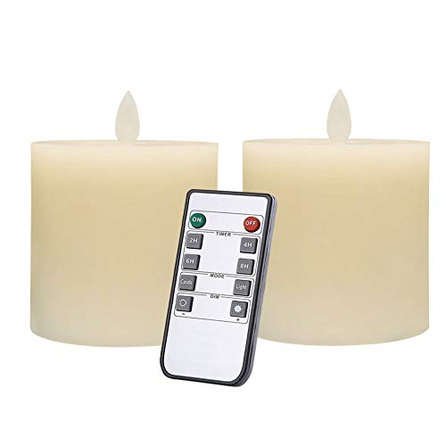 Only-us Flameless Candles Set of 2 (3x3 inch) Flickering LED Candles Battery Operated with Remote Control Timers for Fireplace Bedroom Livingroom Party Dimmable Ivory Pillars Flat top