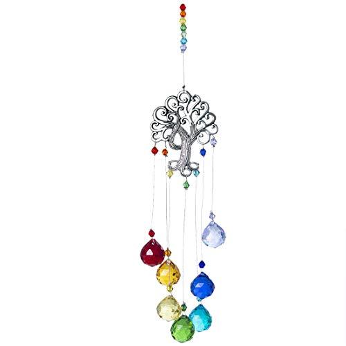 HampD Crystal Glass Suncatcher Chakra Colors Ball Prism Tree of Life Window Hanging Ornament Rainbow Suncatcher