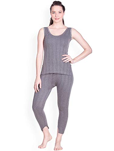 Lux Inferno Women's Slip Thermal Top and Lower Set (Grey_80)