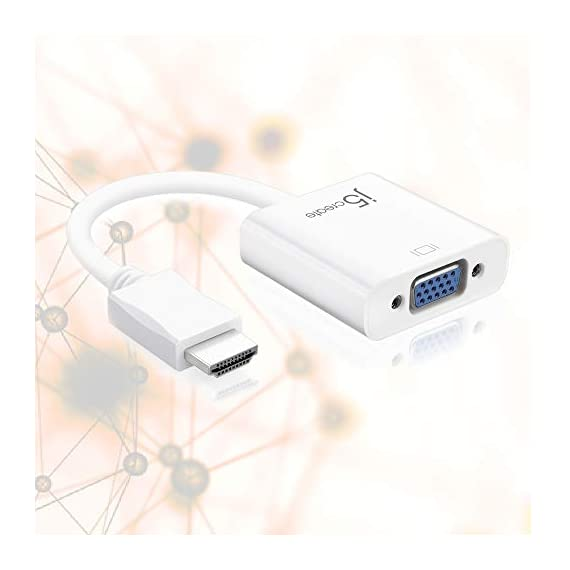 j5create JDA213 HDMI to VGA Adapter 2 Easily make your new HDMI equipment compatible with a VGA display Supports PC resolutions up to 1920x1200 @ 60 Hz (WUXGA) and HDTV resolutions up to 1080p @ 60 Hz 2-channel analog audio output