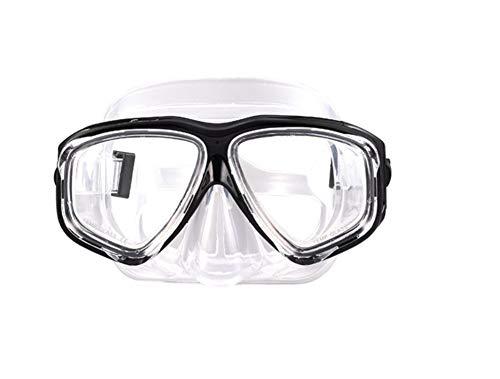 ShuoBeiter Tauchermaske kurzsichtig Diving Tauch Schnorchel Maske NEARSIGHTED Verschreibung RX Sehstärke (Black, -1.5)