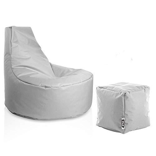 PATCH HOME Gamer Sessel inkl. Würfel Bean Bag Set Ø80cm, 30cm Sitzhöhe, 90cm Höhe + 35x35cm Würfel Grau