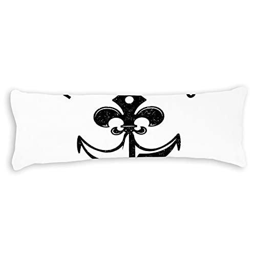 CICIDI Funda de almohada de 50 x 137 cm, diseño rústico vintage de flor de lis y ancla, funda de cojín transpirable con cremallera de algodón y poliéster, funda de almohada de cuerpo largo