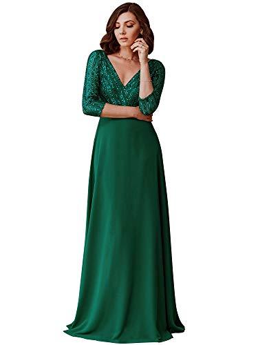 Ever-Pretty Robe de Soirée à Paillettes Manches Longues Femme A-Line Col V Empire Élégante Vert Foncé 44