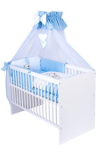 KMbaby Babybett Tany weiss 120x60 mit 10tlg Bettwäsche Set Matratze Gitterbett Teddybär mit Ballon blau