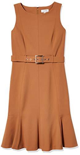 Calvin Klein Women's Sleeveless Dress with Flounce Hem and Novelty Self Belt, Luggage, 4 Petite