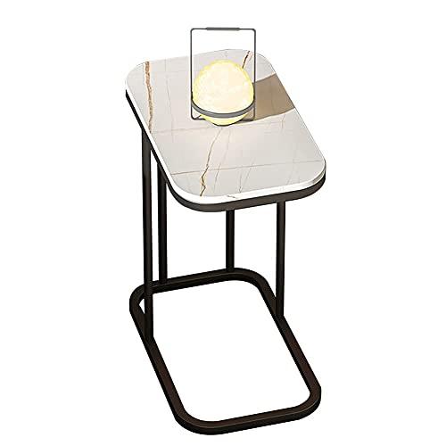 WECDS Mesa auxiliar de hierro, mesa de noche cuadrada de lujo, mesa auxiliar de sofá en forma de C en la sala de estar, pequeño apartamento multifuncional (30 x 50 x 59 cm) (color: B)