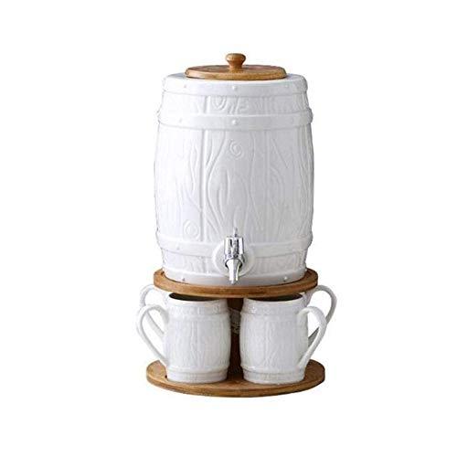 ZHIRCEKE Taza de Agua del Tanque de Agua Transparente de 5L de cerámica con Capacidad de cerámica doméstica con Cubo de Jugo de Grifo Conjunto de Botella de Agua Fresca y fría