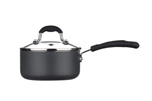 Premier Housewares Casserole avec Couvercle - Ustensile de Cuisine – Sauteuse avec Poignée -Noir -16 Cm-Aluminium/Céramique, Couvercle en Graphite/Verre