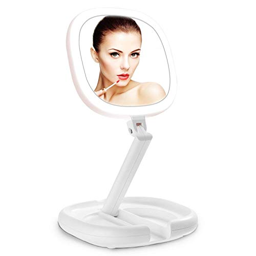 Lighted Makeup Mirror, 1X8X Double Sided Magnifying Mirror, Vanity Mirror with Lights, Smart Design with Brightness&Angle&Height Adjustability, Folding Compact Mirror, LED Mirror for Travel