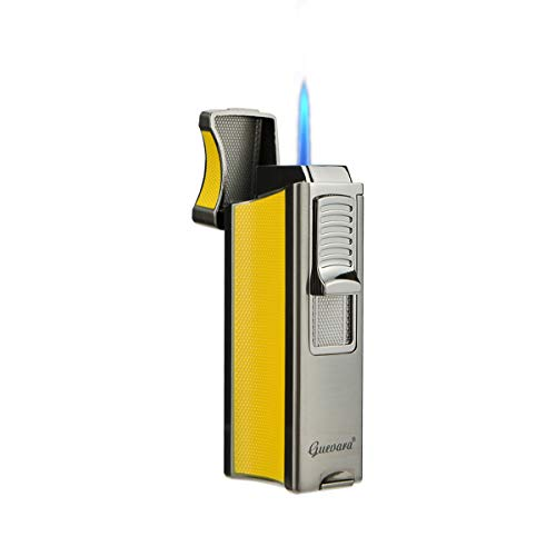 Cigar Lighters Single Torch High Quality Best Cigar Lighter with Stand Rest on Side Holder Windproof Butane Refillable Scorch(Without Gas) (Yellow)