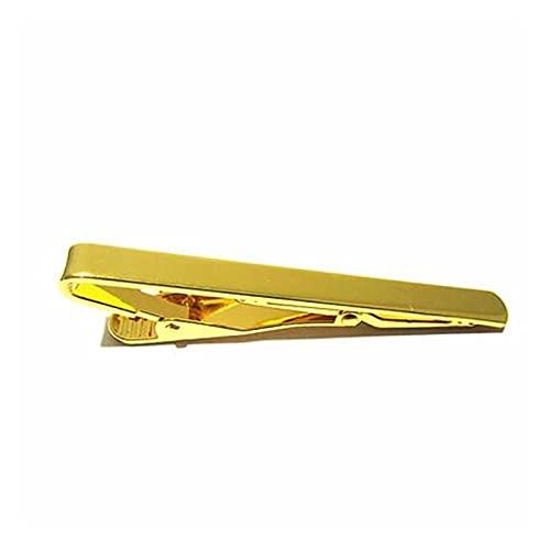 feichang Clip de corbata de metal de bronce para corbata, 54 x 5 mm, 1 pieza (color metal: dorado)