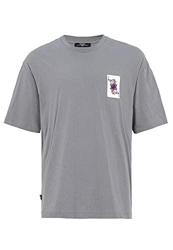 Camiseta para Hombre con Mangas Cortas Corte Oversize Cuello Redondo Algodón Gris M