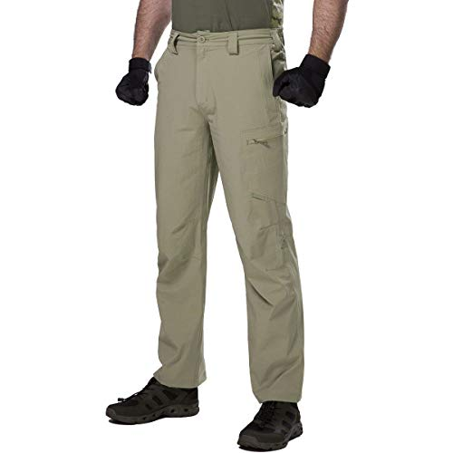 FREE SOLDIER Men's Waterproof Ripstop Tactical Military Cargo Pants Quick Dry Hiking Work Pants with Pockets (Sand,32W/30L)