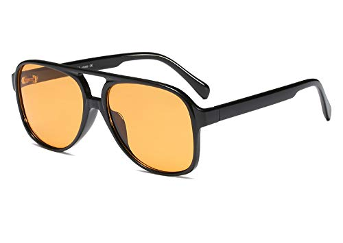 Vintage Retro 70s Sunglasses for Women Classic Large Squared Aviator Frame (Tinted Yellow, 60)