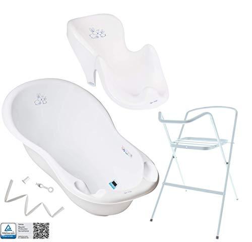 Baby Badewanne mit Gestell und Badewannensitz Verschiedene Sets für Neugeborene mit Babybadewannen + Ständer +Abfluss + Badewannensitz. Tüv Rheinland geprüft!