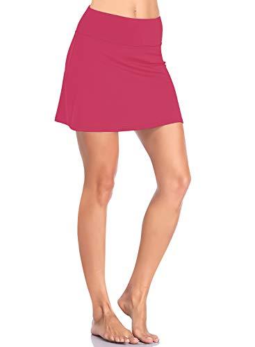 HISKYWIN Womens Active Athletic Skorts Lightweight Skirt with Built-in Mesh Shorts for Tennis Golf Running Workout HF8-Deep Pink-XXL