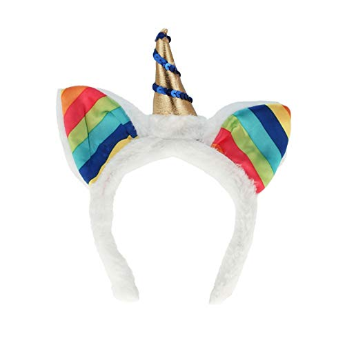 PhiLuMo Einhorn Haarreif aus Plüsch, weiß mit goldenem Horn & Regenbogen Ohren