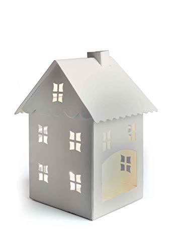 Excelsa Laterne in Form von Kleines Haus, Metall, weiß, Metall, weiß, 10 x 9.6 x 14.5 cm