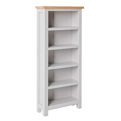 RoselandFurniture Farrow Grey Narrow Bookcase with Oak Top | Contemporary Painted Slim Solid Wooden Bookshelf with 5 Shelves for Living Room or Office | Fully Assembled 140 x 60 x 22.5 cm