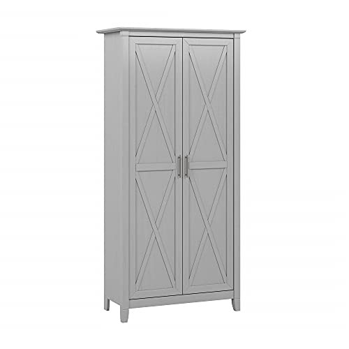Bush Furniture Key West Tall Storage Cabinet with Doors, Cape Cod Gray