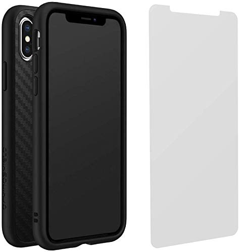 RhinoShield iPhone X Case SolidSuit with Impact Protection Screen Protector - Shock Absorbent Slim Design Phone Case [3.5M / 11ft Drop Protection] - Carbon Fiber