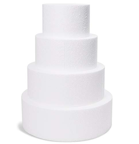 Juvale 4-Piece Round Foam Cake Dummy for Decorating and Wedding...